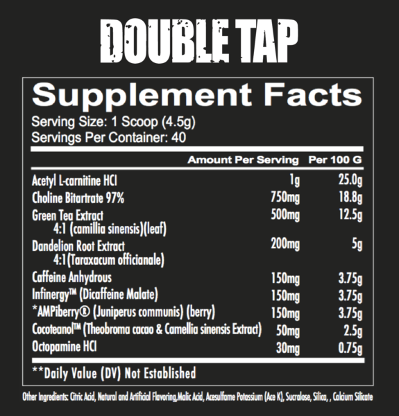Double Tap Powder Fact Panel high-end supps