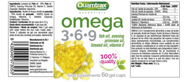 38 Omega 3 6 9 60 gelcaps 13 x 55 high-end supps