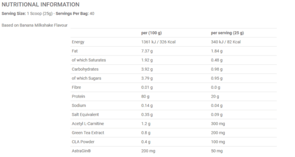 Diet Whey 1kg Nutrition Label high-end supps