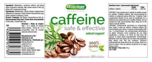 Quamtrax Nutrition Caffeine Nutrition Label 180 Tabletten 600x245 1 high-end supps