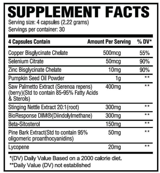 prostate supplement facts high-end supps
